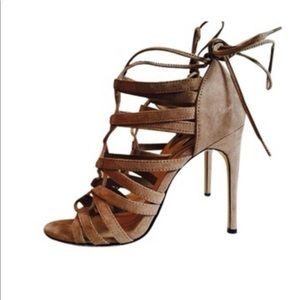 Forever 21 Taupe Strappy  Wrap Heels 7.5